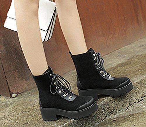 Aisun Femme Original Chaussures de Neige à Lacets Martin Bottes Noir
