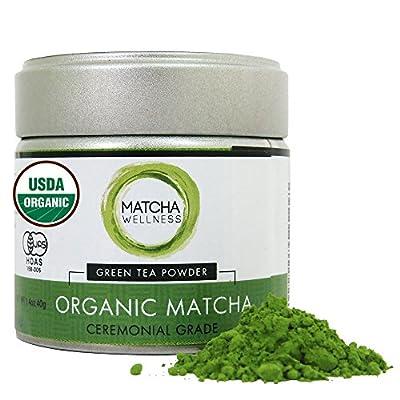 Thé Matcha Premium Bio du Japon - 40g - Produit en Dans la Région d'Uji de Kyoto Japon - Thé Vert Matcha Japonais en Poudre Naturel et Détox - Certifié USDA & JAS Agriculture Biologique - Qualité de Cérémonie.