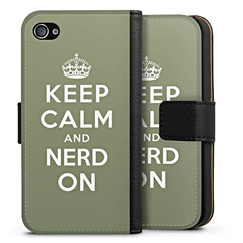 Apple iPhone X Silikon Hülle Case Schutzhülle Keep Calm Nerd Sprüche Sideflip Tasche schwarz