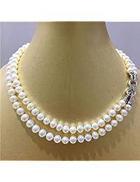 de4219488eab MENGKE Multiuso AAAA Collar de Perlas de Agua Dulce Blanco 8.5-9.5mm Collar  de