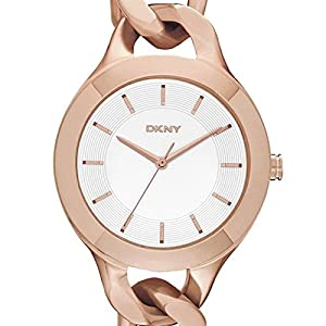 DKNY NY2218 - Reloj de cuarzo con correa de acero inoxidable para mujer, color rosa de DKNY