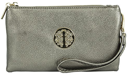 Big Handbag Shop, Borsetta da polso donna Metallic Grey