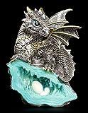 Kleine Drachen Figur | Blauer Wächter 12,5 cm auf Kristall | Fantasy Deko