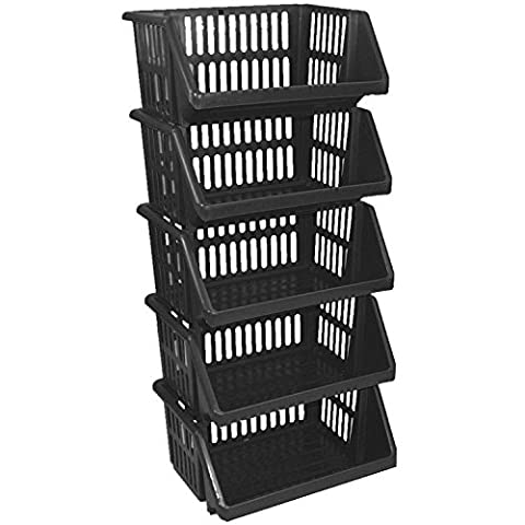 CrazyGadget® Multi Purpose Large Plastic Colour Storage Rack Stand Stacking Stackable Basket - Made In U.K. (5 Tiers,