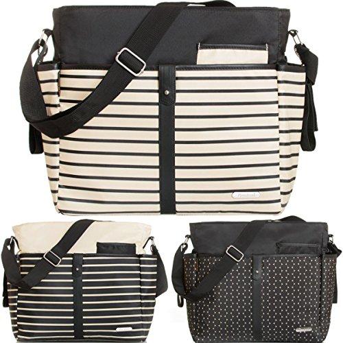 Wickeltasche (+ Wickelauflage) Baby Tasche mit Befestigung für Kinderwagen Buggy (SCHWARZ)