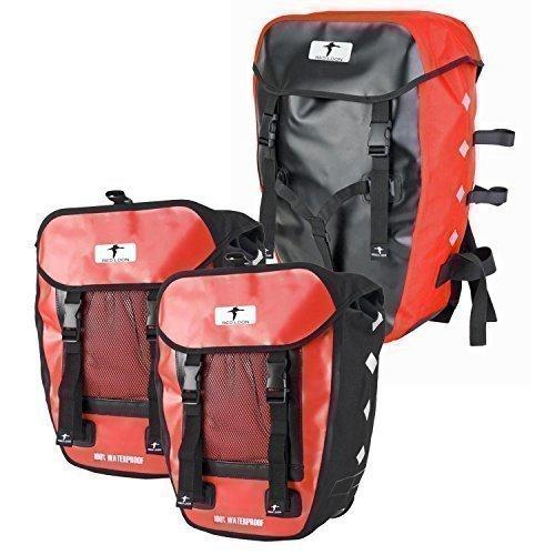 Red Loon Pro 3-fach Packtasche rot/schwarz Fahrrad Rucksack Gepäckträgertasche Hecktasche wasserdicht