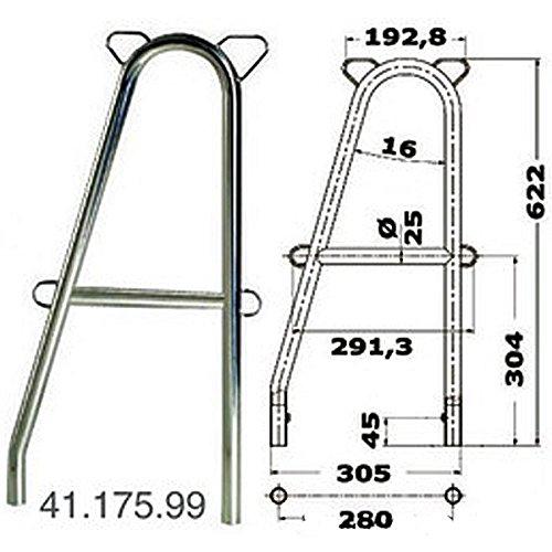 Osculati Edelstahl Relingstütze doppelt für Tore - 61cm hoch - erhältlich mit und ohne Querstange, Ausführung:mit Querstange
