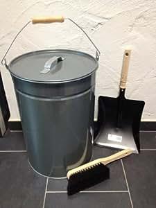abfalleimer verzinkt 25 liter mit deckel feger schaufel ascheeimer m lleimer abfalltonne. Black Bedroom Furniture Sets. Home Design Ideas