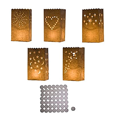 50 White Craft Paper Tea Light Holder Lanterns Candle Bags with Tea Light Candles by Kurtzy TM by Kurtzy