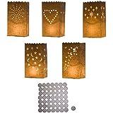 50 porta velas de papel blanco, linternas, fundas con velitas por Kurtzy TM