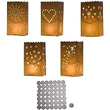 50 lanterne bianche di carta porta candele con piccole candele firmate Kurtzy TM