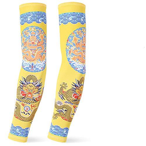 JinRui-Sport Tattoo Sleeve Sommer EIS Seide Sonnencreme Hülle UV-Schutz, L, Qing-Dynastie Imperial Dragon 2 Packungen
