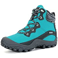 XPETI Ladies Hiking Boots, Womens Outdoor Shoes Waterproof Hiker Mountain Walking Mountaineering Summer Vegan Lightweight Tall Safety Mid Blue Size 7.5