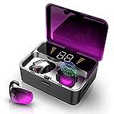Ecouteur Bluetooth, Oreillette Bluetooth V5.0 Stéréo Étanche IPX56 Ecouteurs sans Fil avec Mic, CVC 8.0 Réduction du Bruit Ecouteurs Sport, 25h de Lecture pour Téléphones Portables Tablette TV