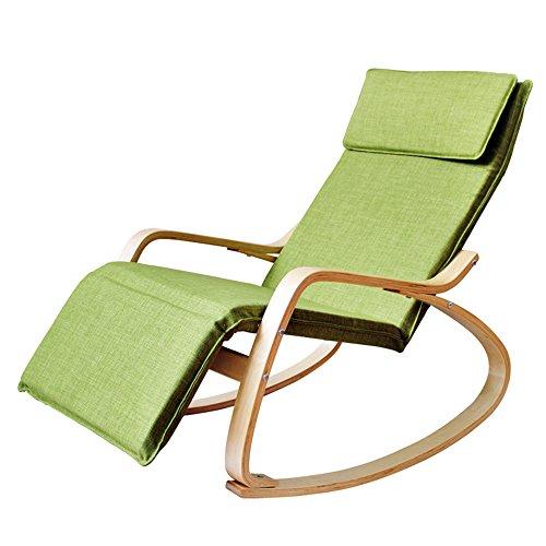 KFXL yizi Chaise à bascule adulte en bois massif de style européen/Bureau Fauteuil inclinable Siesta/Balcon Chaise à dossier décontracté/Chaise amovible (8 couleurs en option)