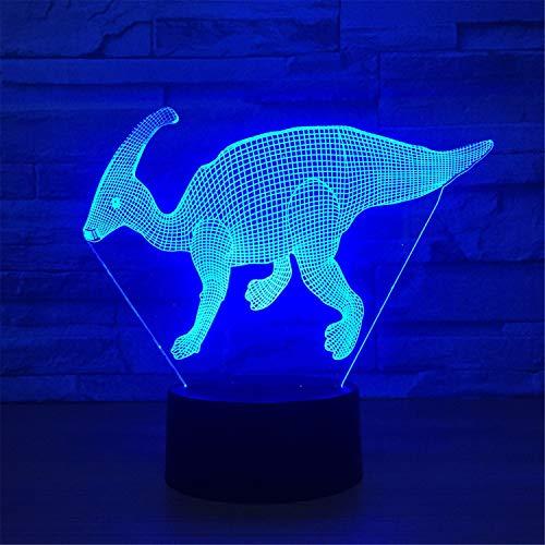 Luz de noche led 3D, 7 colores, modelo de dinosaurio, control remoto táctil Interruptor de la lámpara, base ABS, batería USB/AA, regalos de decoración para el hogar para niños