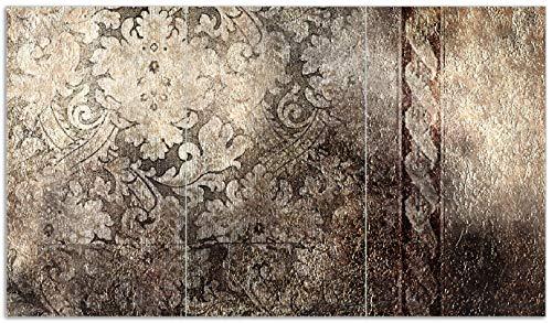Wallario Herdabdeckplatte/Spritzschutz aus Glas, 3-teilig, 90x52cm, für Ceran- und Induktionsherde, Schnörkelmuster in Dunkelbraun -