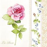 """""""la rosa"""" - 20 unidades 33 x 33 cm - servilletas de papel - 3ply - Floral Decoupage Shabby chic"""