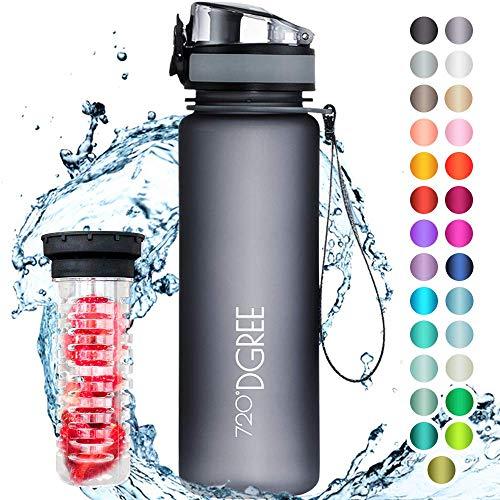 """720°DGREE Trinkflasche \""""uberBottle\"""" +Früchtebehälter - 500ml - Auslaufsicher, BPA-Frei - Für Kinder, Schule, Sport, Fitness - Schlanke Wasserflasche aus Tritan - Leicht, Bruchsicher, Nachhaltig"""