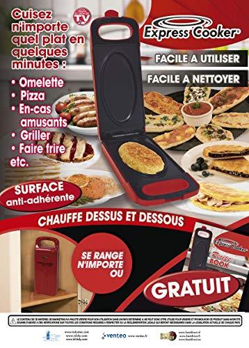 EXPRESS Cooker Multi de barbacoa con función Reversible 800W rojo
