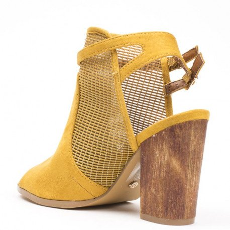 Ideal Shoes - Bottines ajourées et bout ouvert effet daim Belenia Jaune