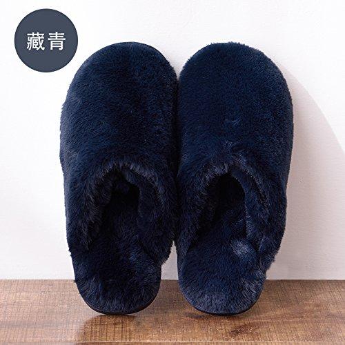 DogHaccd pantofole,Autunno Inverno home soggiorno con caldo cotone pantofole di spessore inferiore morbida indoor colore solido uomini e donne matura antiscivolo in cotone felpato mop Blu scuro1