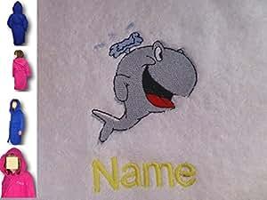 Peignoir de bain à capuche Enfant Baleine avec un logo et le nom de votre choix, Age, 2en bleu royal
