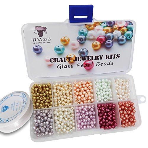 TOAOB 1000 Stück 4mm Glasperlen Runde sortierte mischfarbige Perlen mit Kasten und Elastisch Schmuckfaden Faden für Schmuckherstellung