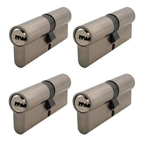 4 x Zylinderschloss gleichschließend 70 mm mit jeweils 20 Wendeschlüssel 35x35 mm