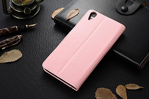 Für OPPO R9 Plus Case Cover Horizontale Flip Stand Weiche Echtleder Litchi Texture Case Mit Halter & Card Cash Slots & Photo Frame ( Color : Blue ) Pink