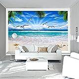 Mbwlkj Foto Personalizzata 3D Carta Da Parati 3D Spiaggia Vista Mare Carta Da Parati Soggiorno Camera Da Letto Carta Da Parati Per Pareti 3D -150Cmx100Cm