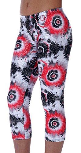 """Fischer 1650 """"Bunte Leggings"""" Mädchen Gymnastik Turn Sport Capri Leggings mit Glitzerstoff, Ökotex 100 zertifiziert, verschiedene Größen und Farben (schwarz-rot, 152)"""