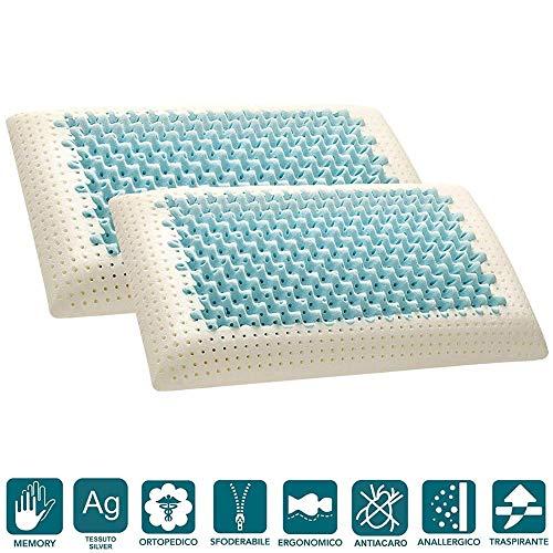 Evergreenweb - coppia cuscini memory foam, modello saponetta air massage alti 12 cm, doppia fodera silver e cotone naturale, guanciali letto ideali per cervicale, traspiranti termosensibili antiacaro