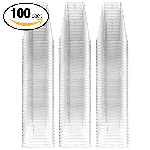 Lot de 100 - verres à shot jetables en plastique dur de 2 oz, taille extra grande - volume 60 ml