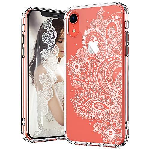 MOSNOVO iPhone XR Hülle, Paisley Floral Henna Mandala Muster TPU Bumper mit Hart Plastik Hülle Durchsichtig Schutzhülle Transparent für iPhone XR (Paisley Floral)