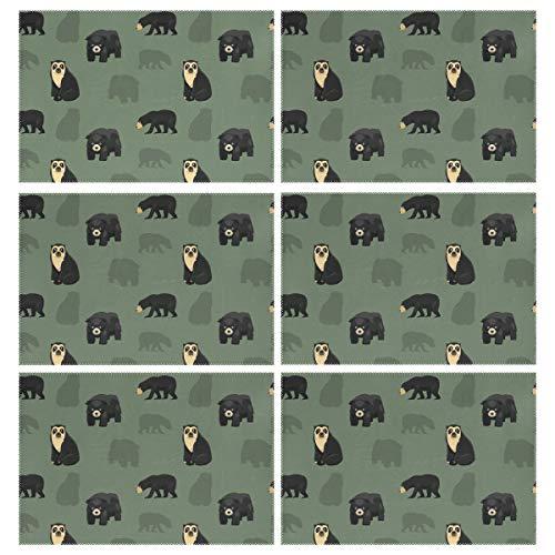 Mnsruu - Manteles Individuales (6 Unidades, 30 x 45 cm, Lavables), diseño de Oso Sobre Fondo Verde Oscuro