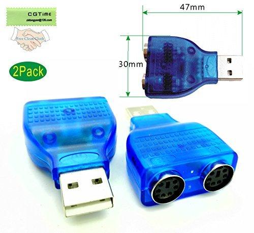 cgtime (2er Pack) blau Maus Tastatur USB A Stecker auf Dual PS/2Buchse Connector Adapter, neue USB-Stecker auf 2PS/2weiblich Aktive Adapter t-splitter -