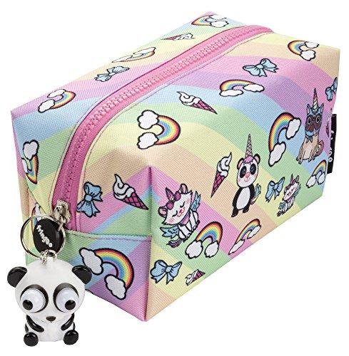 Fringoo® - grande astuccio quadrato per matite, cancelleria, sacchetto con cerniere e pupazzetto morbido sulla chiusura grande unicorn team