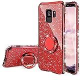 Homikon Silikon Hülle Kompatibel mit Samsung Galaxy A6 Plus 2018 Überzug TPU Bling Glitzer Strass Diamant Schutzhülle mit 360 Grad Ring Ständer Flex Durchsichtig Silikon Handyhülle Tasche Case - Rot