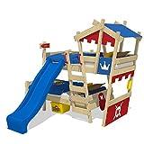 WICKEY Etagenbett CrAzY Castle Doppel-Kinderbett 90x200 Hochbett mit Rutsche, Treppe, Dach und Lattenboden, rot-blau + blaue Rutsche