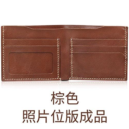 HOOM-Homme sac à main en cuir fait main bricolage créatif wallet purse,couleur kaki b Brown b