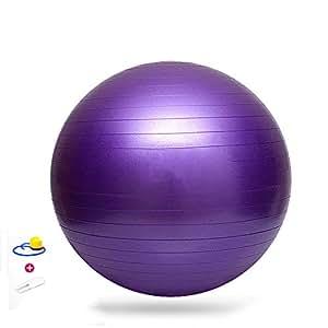 Japace® Ballon de gymnastique Yoga balle Ballon de Gym Fitness Ø 75cm épaissir anti-éclatement avec pompe 200kg--Pourpre