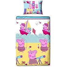 Juego de cama de edredón simple Náutico Peppa Pig reversible 135 x 200 Funda de almohada 48 x 74