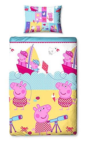 Character World Juego de cama de edredón simple Náutico Peppa Pig reversible 135 x 200 Funda de almohada 48 x 74
