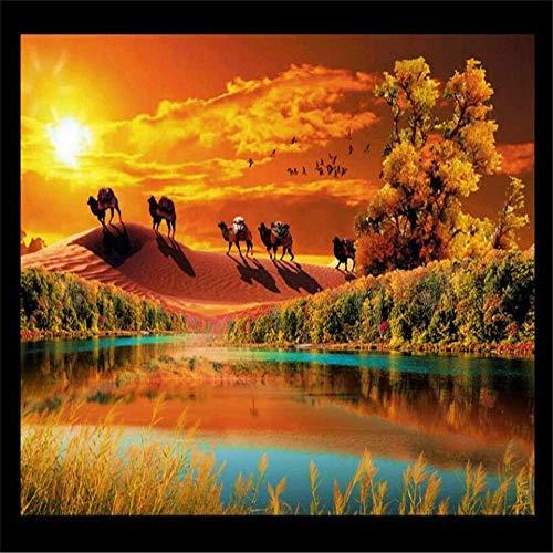 BIZI Wandaufkleber Tapete 3D Ästhetische Atmosphäre Wüste Herbst Idee Wohnzimmer Tv Hintergrund Wandbild Kunst Aufkleber Wandbild,300 * 210 cm