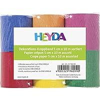 Heyda 203376099 - Juego de 6 rollos de papel crepé (5 cm x 10 m, 32 g/m²), colores variados