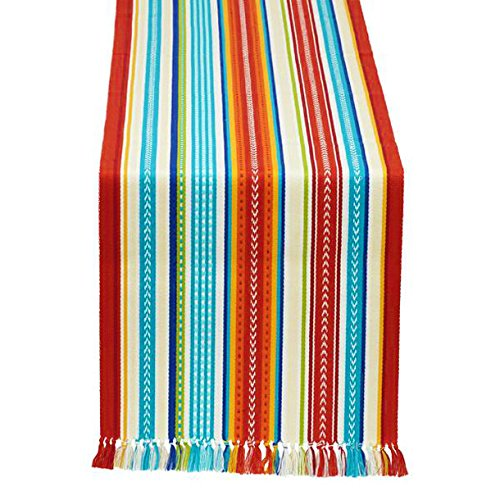 DII Baja Stripe Fringed Table Runner Multi Baja Stripe