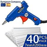 Heißsilikonpistole mit 40 durchsichtigen Heißschmelzklebestoffstäben. Perfekt für kleine Handwerksarbeiten und Kunsthandwerke. Klebepistole für notwendige Hausreperaturen und Büroreparaturen. Blau.