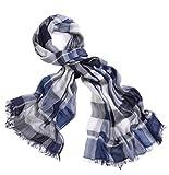Prettystern - XL Seidentuch mit Modal Anteil Damen & Herren Karo Check Fransen Sommer Schal - T43 Blau