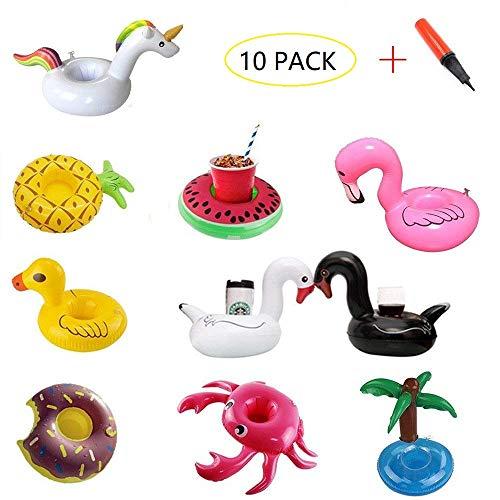 Kalolary supporti per bevande gonfiabili (10 confezioni) galleggianti bevande sottobicchieri per tazze gonfiabili con pompa (unicorno, fenicottero, anatra gialla, cigno ecc.)
